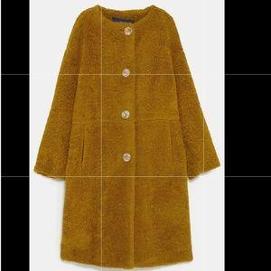 Button up textured coat mustard